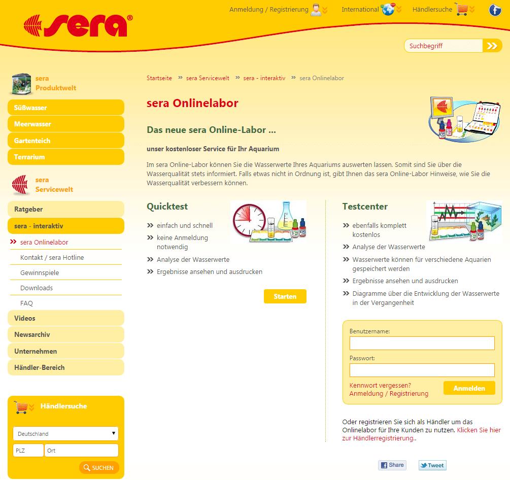 Die Startseite des sera Online-Labor bietet den Einstieg zum Quicktest oder zum Testcenter.