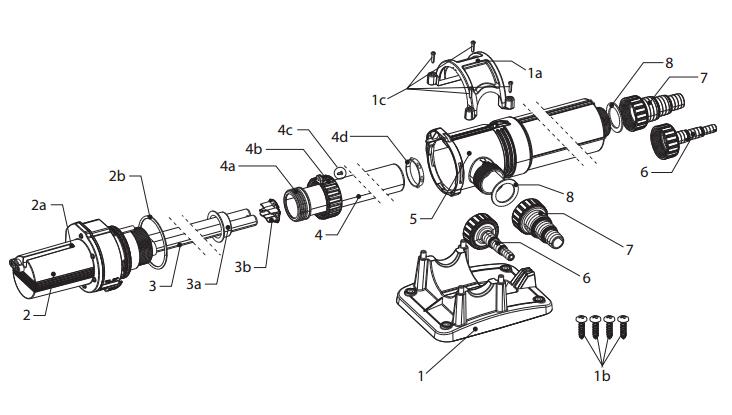 Eine Explosionszeichnung des JBL ProCristal UV-C 11 W aus dem original JBL-Handbuch des UV-C Klärers.