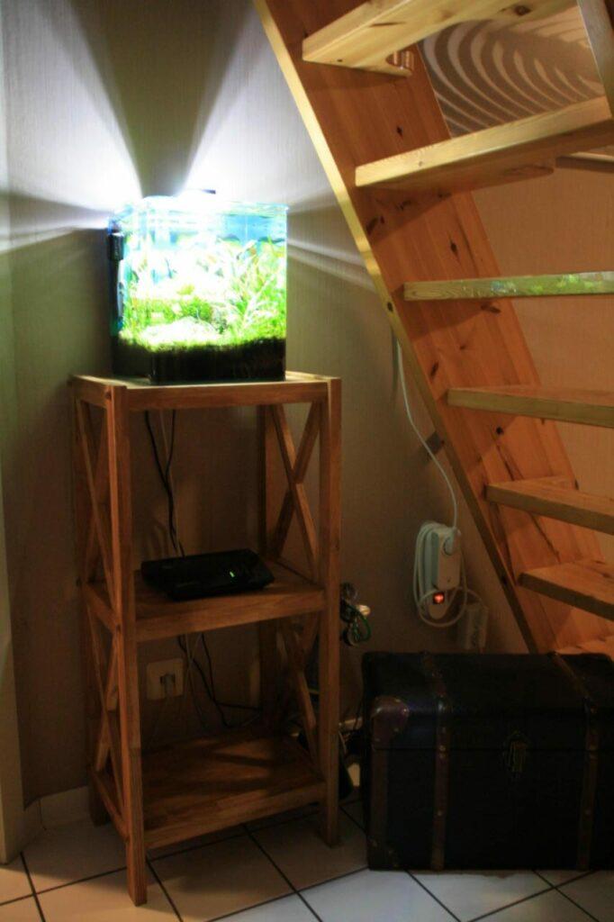 Unter einer dunklen Treppe bringen vor Allem offene Aquarien viel Licht ins Dunkel. In diesem Fall stellt das Moderne LED-Licht einen schönen Kontrast zu den warmen Holztönen dar. Der Wohnraum wird so deutlich aufgewertet.